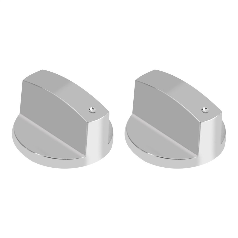 2Pcs Gas Stove Knobs Kitchen Universal Silver Metal Control Switch Knobs for Gas Cooker Oven Stove 8MM