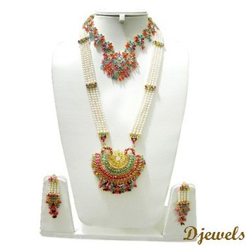 22 K Gold Kundan Necklace Sets Indian Bridal Jewelry Kundan