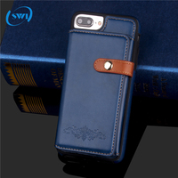 High quality detachable 2-in-1 folding covers card holder leather zipper smart wallet phone case for iphone