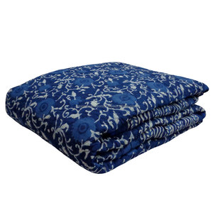 Queen Size Indigo print cotton filled Quilted Bedspread