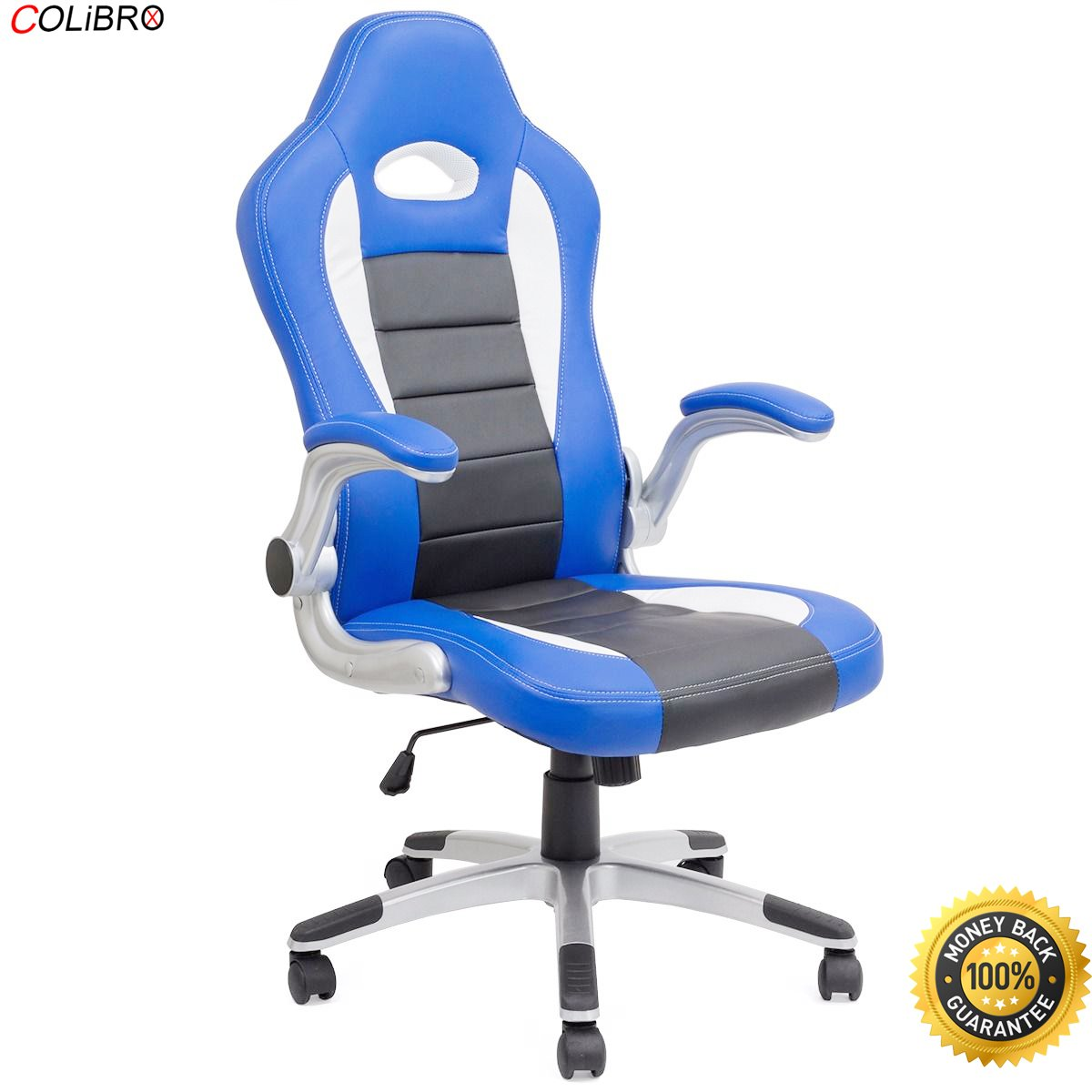 COLIBROX--Office Chair Ergonomic Computer PU Leather Desk Swivel Seat Race Car Game Blue