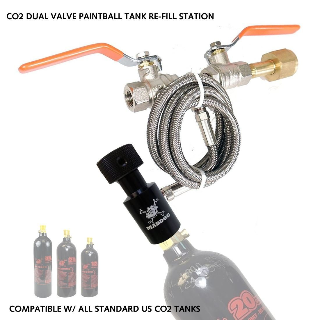 MAddog MD-2050-CO2DUALFILL Paintball Co2 Fill Station - Dual Valve Bottle Refill Station for 9oz, 12oz, 16oz, 20oz + 24oz Co2 Tanks, Black
