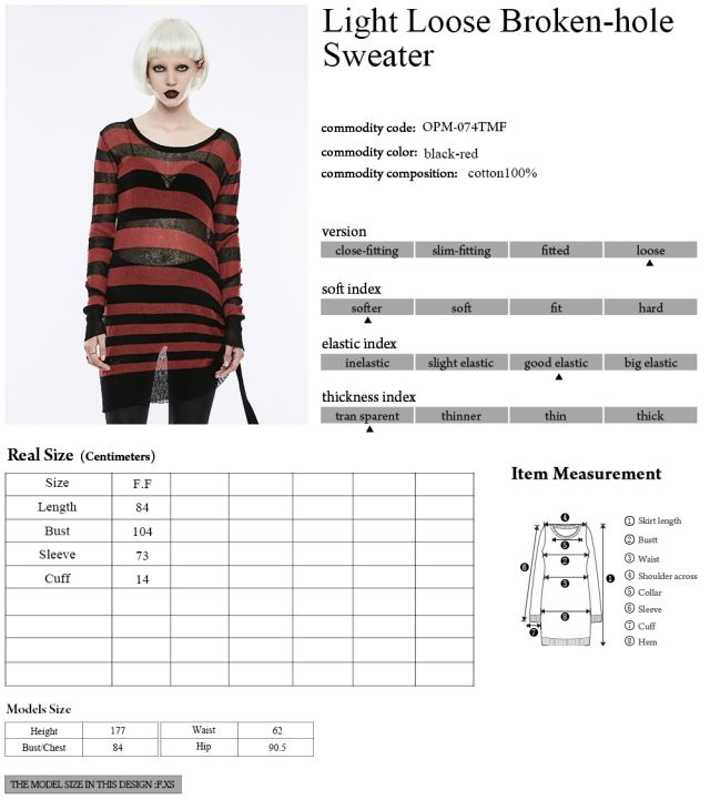 Women's punk black red knitted striped sweater Punk Rave OPM-074