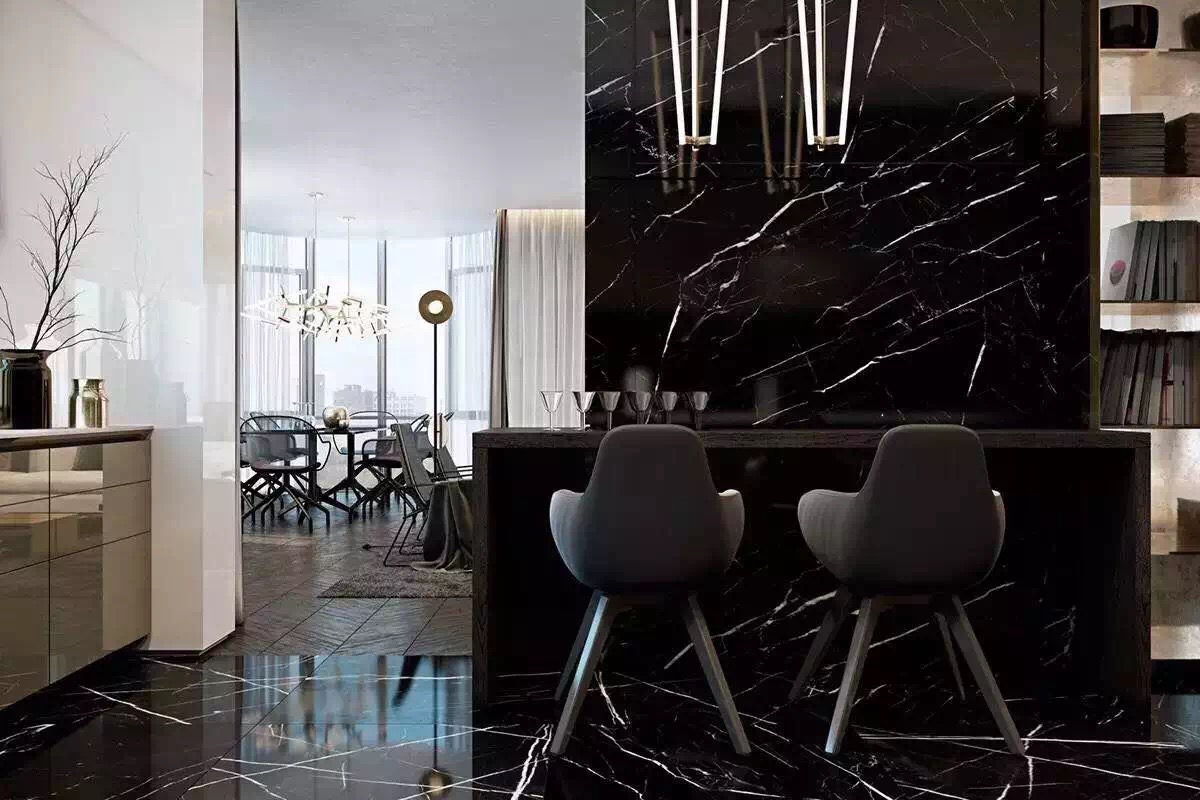 Chinese Nero Marquina Black Marble Tile