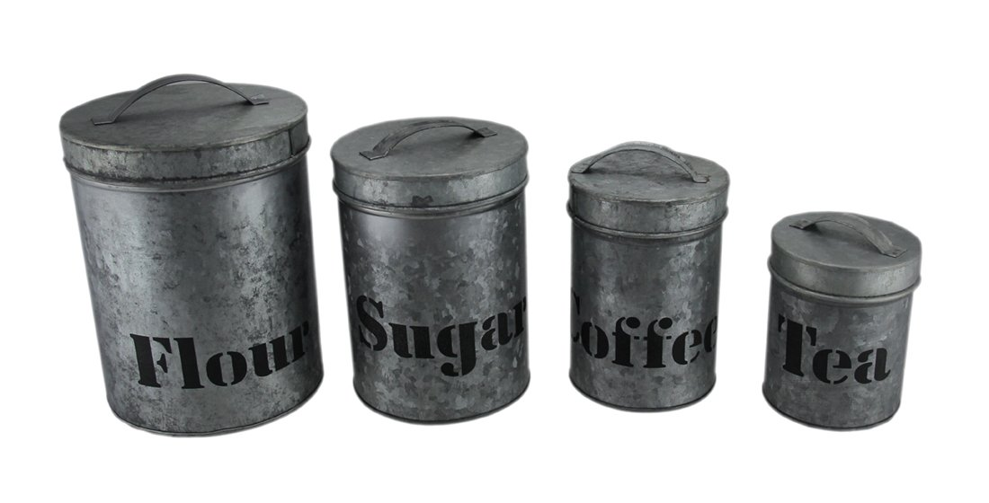 Get Quotations Zeckos Metal Canisters Galvanized Finish 4 Piece Kitchen Canister Set 6 5 X 9