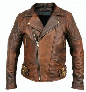 Classic Diamond Motorcycle Biker Brown Distressed Vintage real Leather Jacket