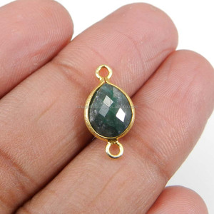 Green Aventurine 18x9mm Pear Faceted 0.86 Gram 925 Sterling Silver Double Loop Connector, Handmade Silver Jewellery IG10692