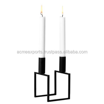 Black candle holder metal | candle holders metal outdoor | Square Candle Holder with 2 Candle Stick |