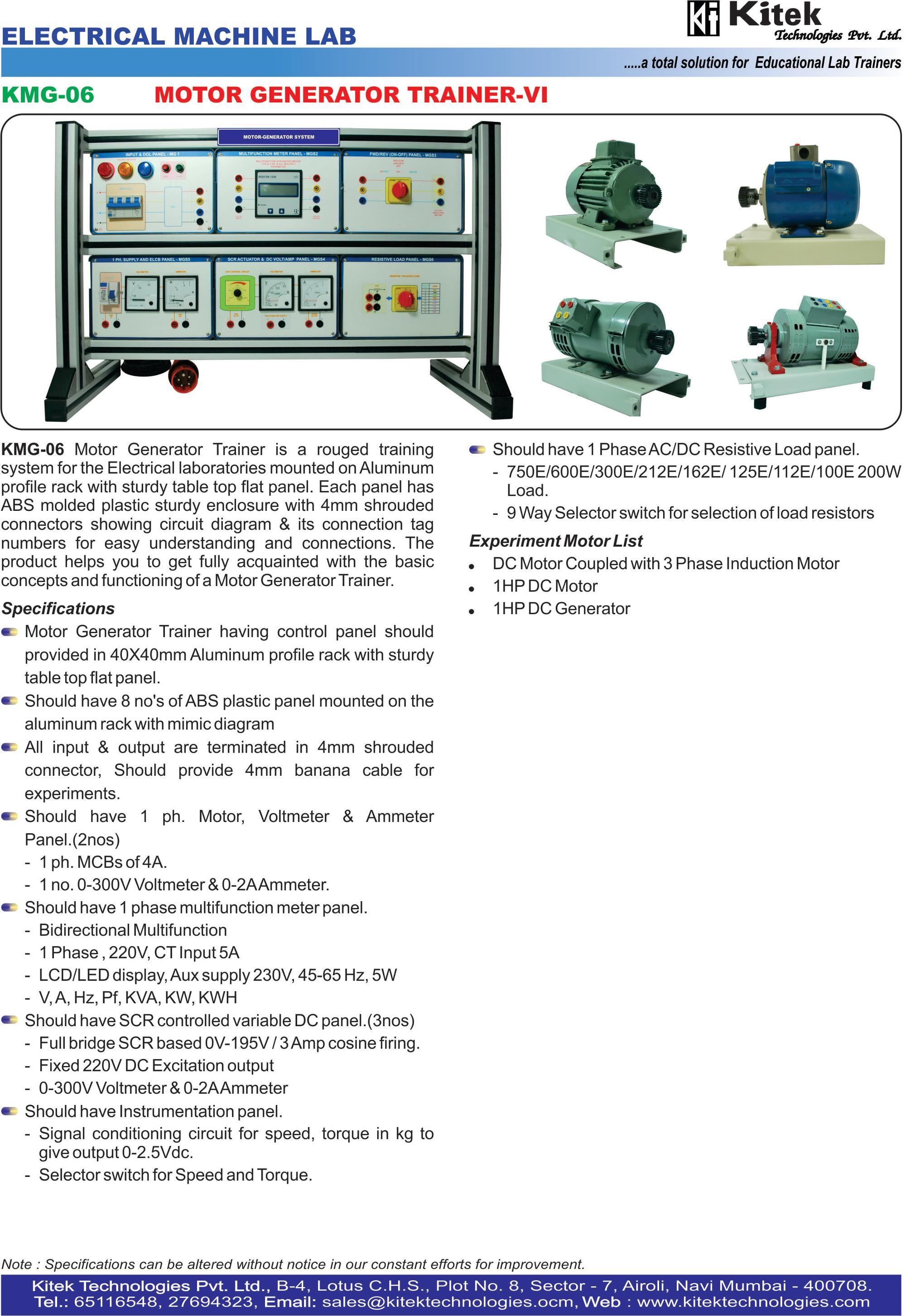 Motor Generator Trainer -II / Electrical Machine Trainer / Electrical Machine Lab Vocational Training Mechatronics Training
