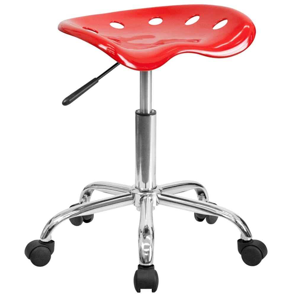 Red Office Stool with Tractor Seat and Chrome Frame By TableTop king