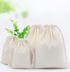 Customized packing cotton linen drawstring bag for colorful cotton string