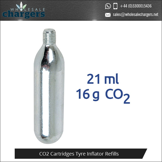 16g Threaded CO2 Cartridges Tyre Inflator Refills
