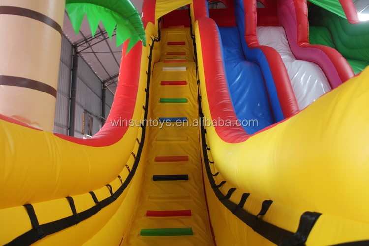 Outdoor new style dry inflatable slide , Christmas theme rainbow dry slide
