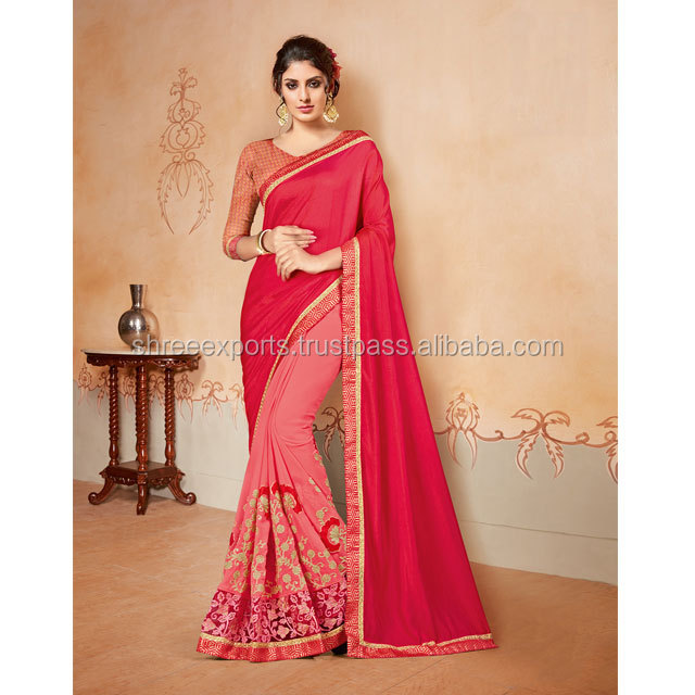 Red Color Chiffon Georgette Saree Online / Shop Online Sarees / Saree Catalog Wholesale