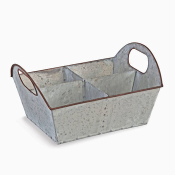 Decorative Galvanized Metal Utensil Carry Caddy Holder for Kitchen