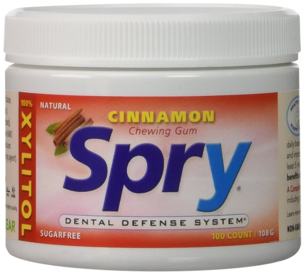 Spry Xylitol - Great Tasting Natural Cinnamon Gum, Promotes Oral Health and Fights Bad Breath - 100 Count (2 Pack)