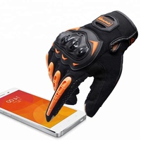 Non-slip Breathable Touch Screen Orange Racing Motorcycle Glove