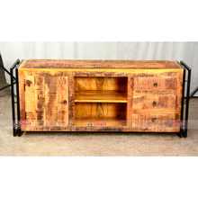 Antiguo acabado Natural Mango gabinete <span class=keywords><strong>de</strong></span> <span class=keywords><strong>TV</strong></span> <span class=keywords><strong>de</strong></span> madera Retro muebles industriales <span class=keywords><strong>de</strong></span> la India