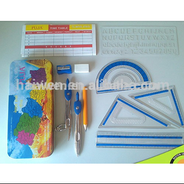Wholesale China 11 pcs geometry box mathematics set compass tool for math