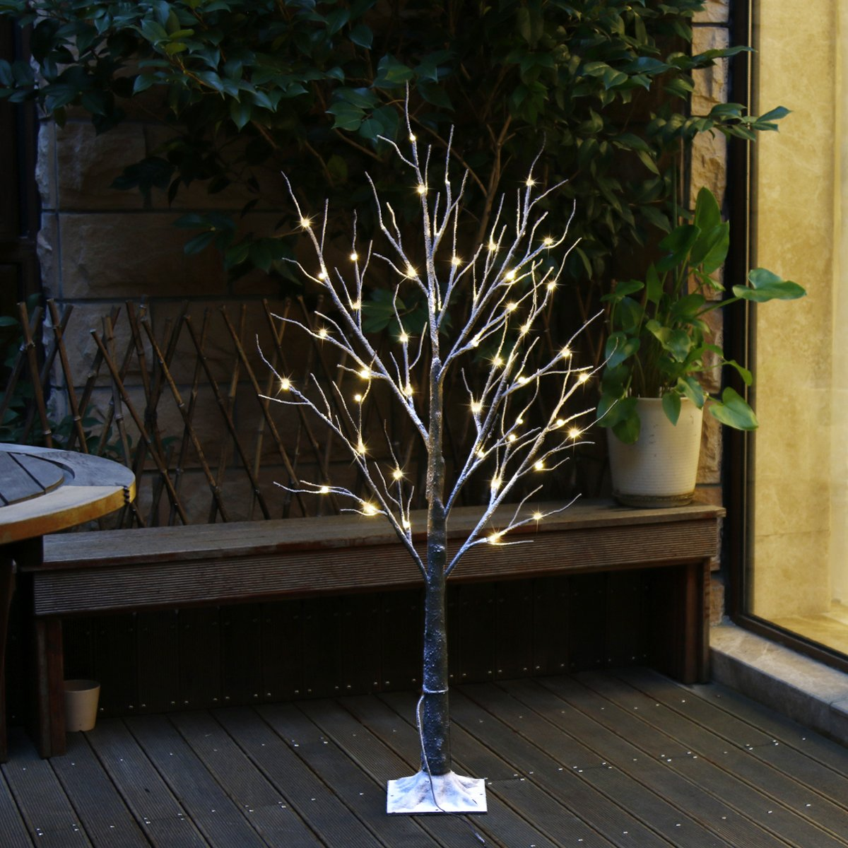 Eambrite 4 FT 48LT Brown Snow Tree Light Decoration Christmas Warm White LED Lights wrapped bark and snow