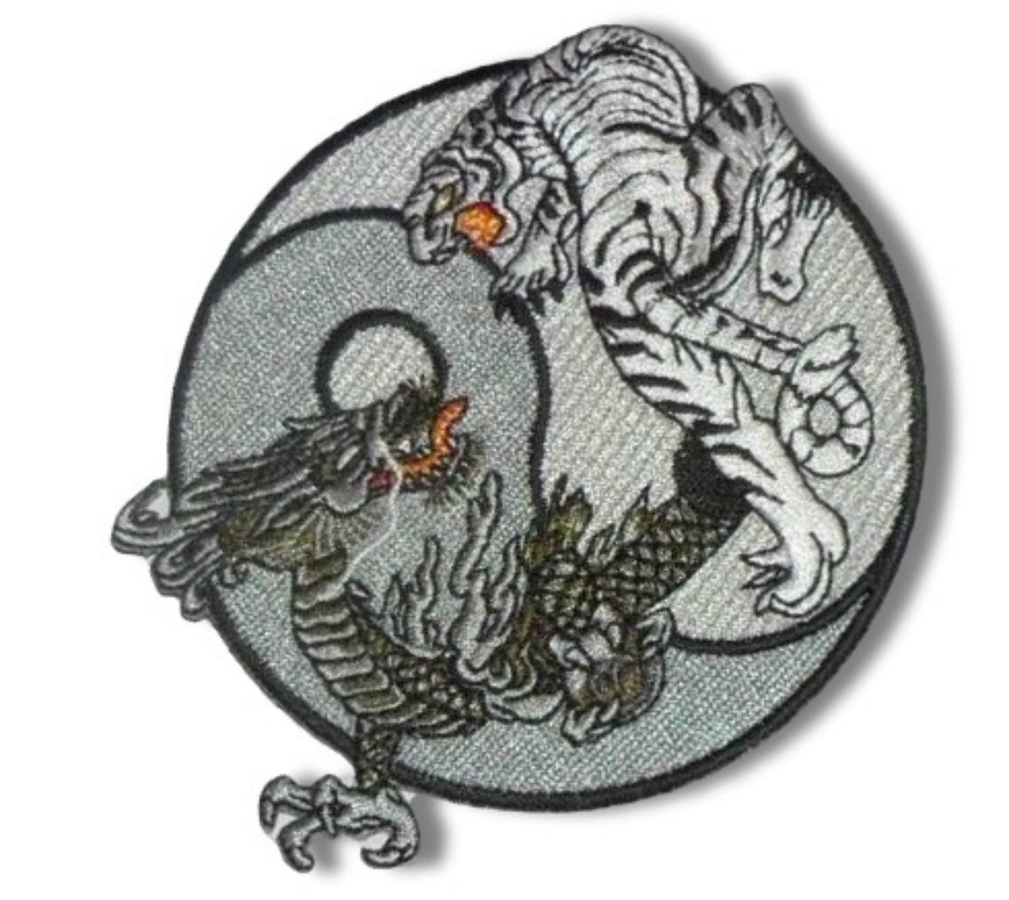 Custom and Unique Yin Yang Fantasy Mythical Creature Flying Dragons w// Crystal Ball Iron On Embroidered Applique Patch {Green /& Grey Colors} Single Count 3 3//4 x 3 1//2 Inch