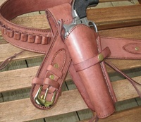 Gun Belt with Left Handed Smooth Holster Combo - 22 Caliber - Leather - Brown