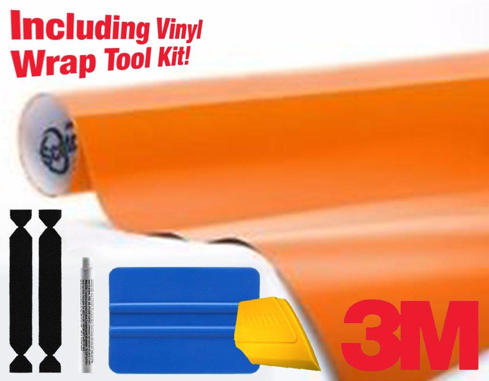 3M 1080 Matte Orange Air-Release Vinyl Wrap Roll Including Toolkit (1ft x 5ft)
