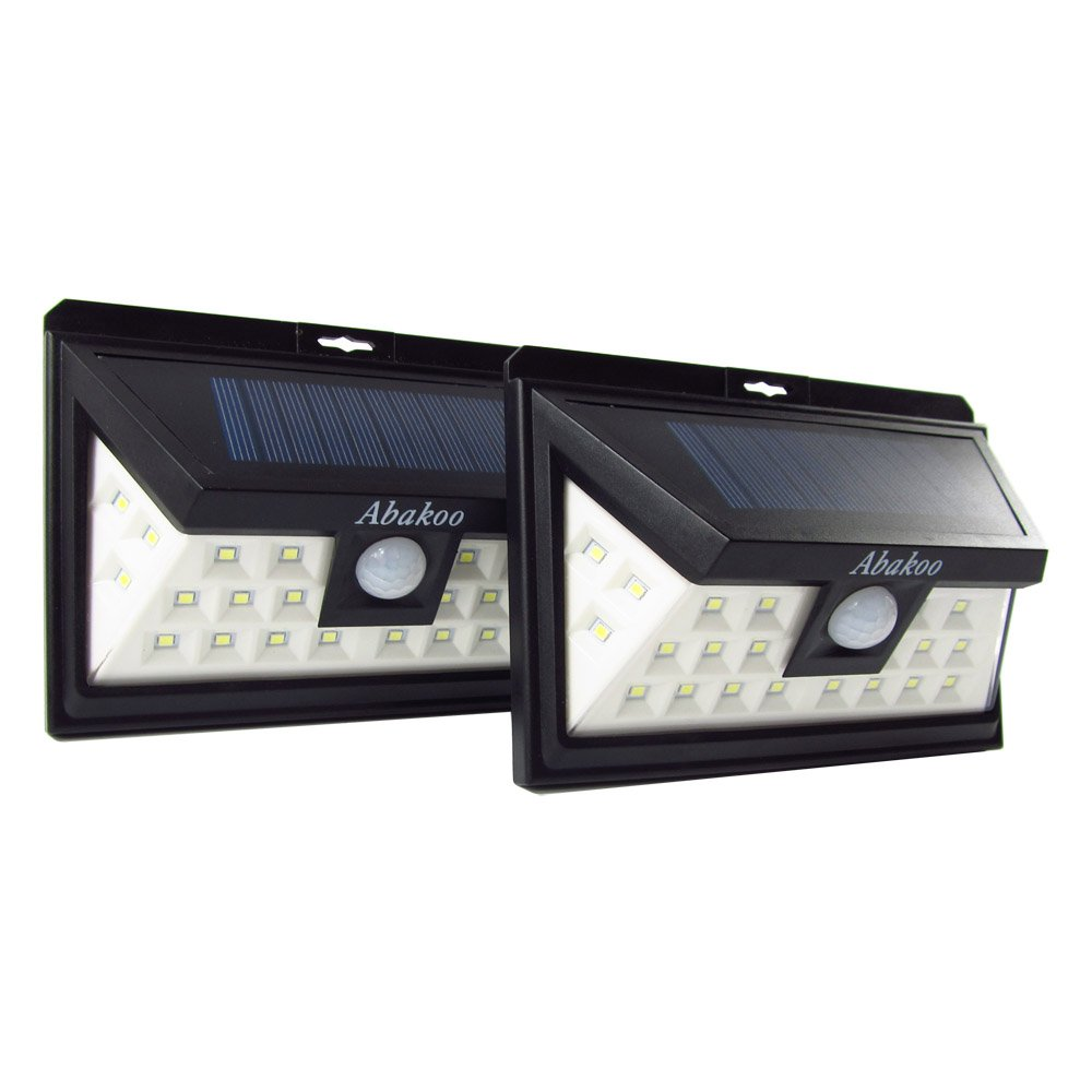 Abakoo 3RD-GEN Solar LED Light, 24 LEDs Super Bright Outdoor Motion Sensor Solar Powered Lights Wide Lighting Angle (270 Degree) with 3 LEDs Both Side for Wall, Driveway, Patio, Yard, Garden - 2 Packs