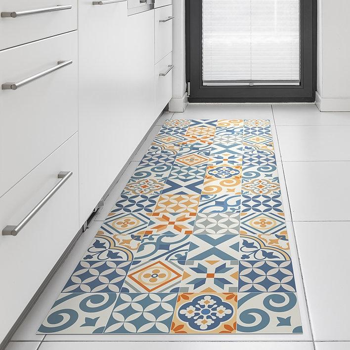 Anti Slip Vinyl Mat With Tiles Design