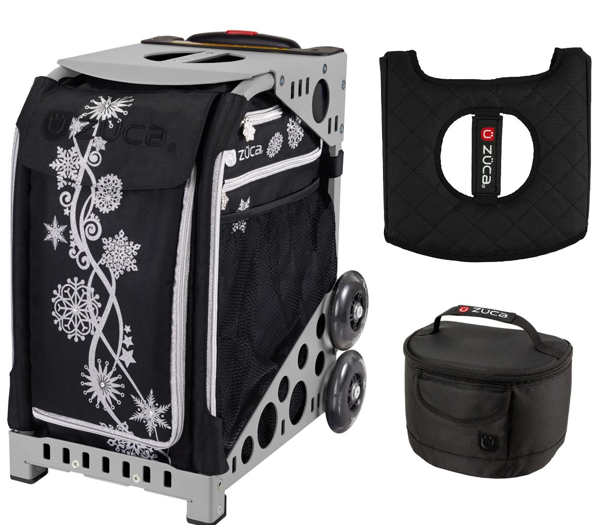 Zuca Sport Bag - Silver Shimmer with Gift Lunchbox and Seat Cover (Gray Frame)