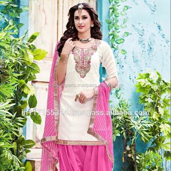 ebf37674d7 Phillauri White Chanderi Party Wear Heavy Gota Patti Work Patiala Suit