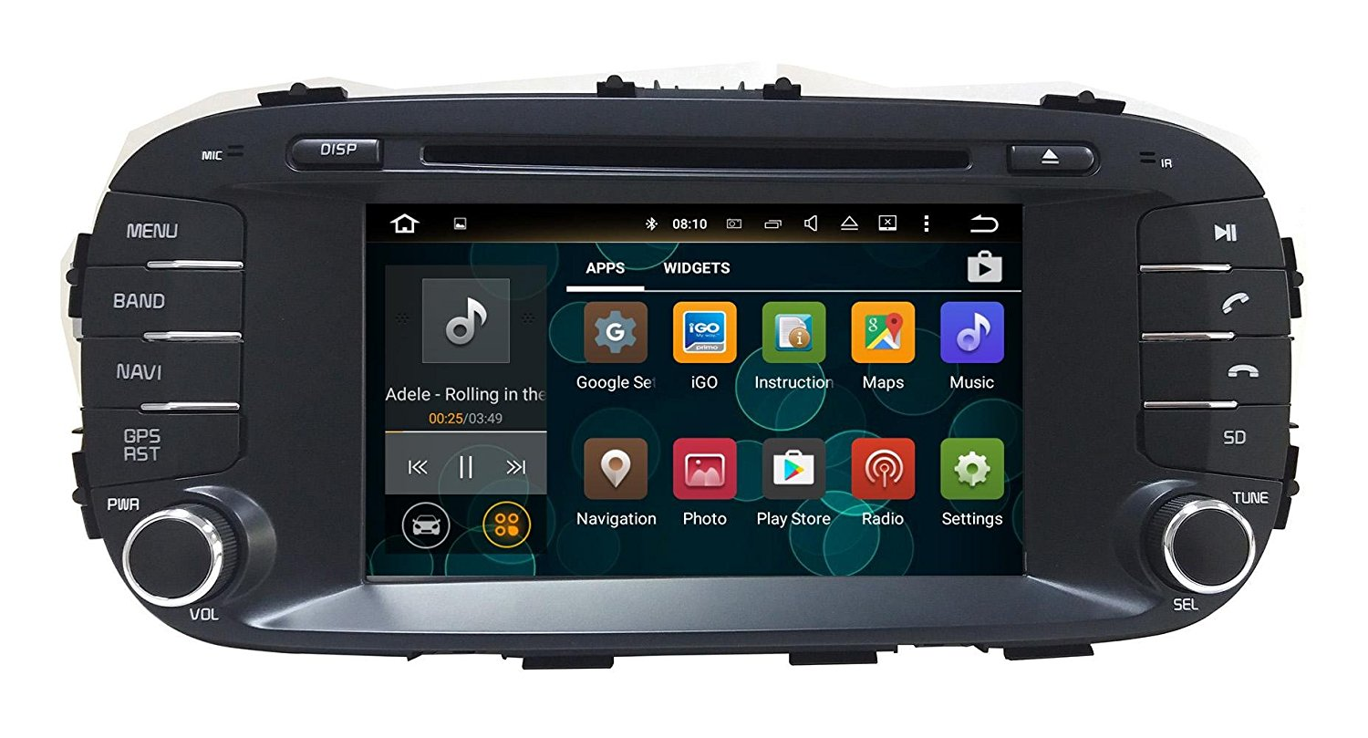 XTTEK 7 inch HD 1024x600 Multi-touch Screen in dash Car GPS Navigation System for Kia Soul 2014 2015 2016 Quad Core Android DVD Player+Bluetooth+WIFI+SWC+Backup Camera+North America Map