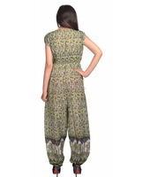 India Jaipur made karni 2017 green grey color elephant printed jump suit latest new jump suit for girls