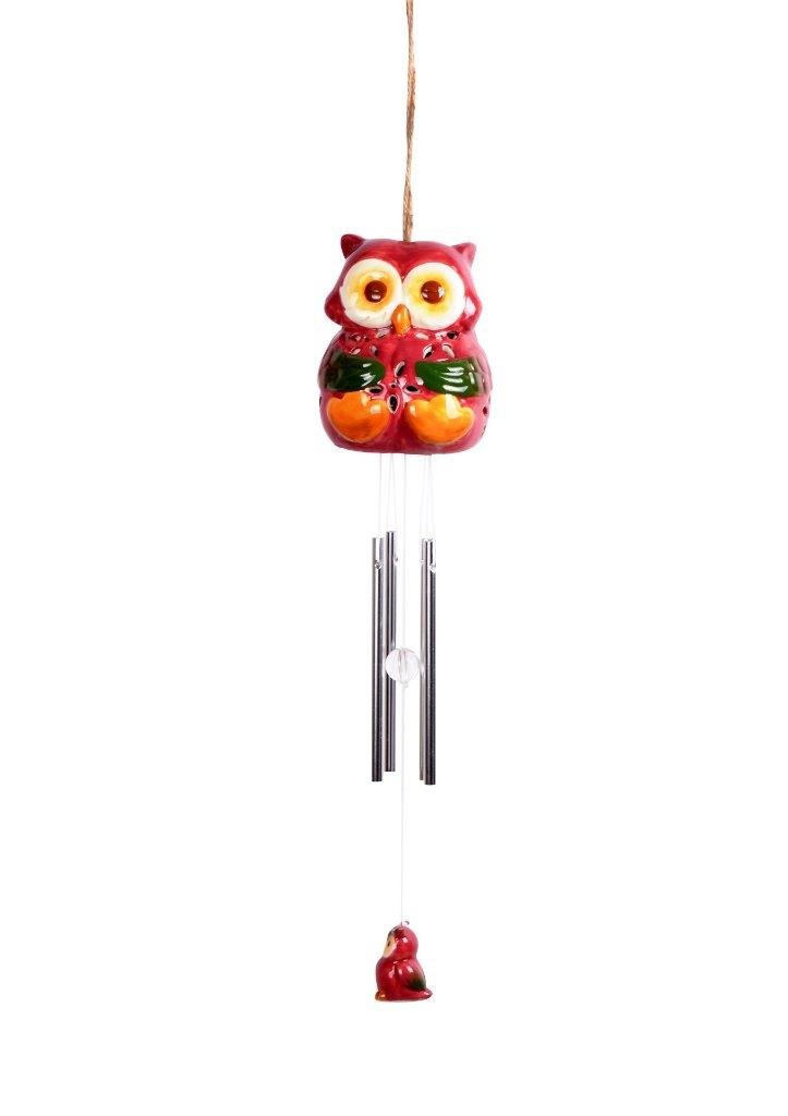 Lightahead Solar Powered Color Changing LED Owl Windbell Light, Solar WindChime for Park, Patio, Deck, Yard, Garden, Home, Pathway, Outside Landscape decoration (Red)