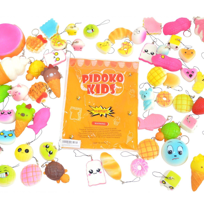Pidoko Kids Random Assorted Squishies 10 Pcs Pack - Cream Scented Jumbo, Medium, Mini, Soft Slow Rising Squishy - Phone Straps And Key Chain (10 Pcs)