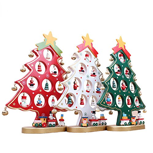 Wooden Christmas Tree Decorations Xmas Table Desk Tree Red Only