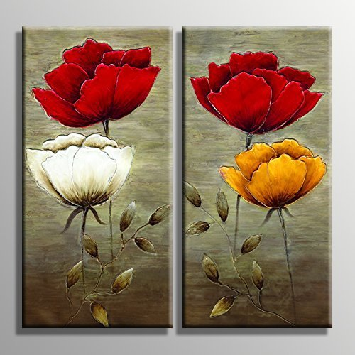 YPY Oil Painting Flowers Wall Art Prints On Canvas for Home Living Room Bedroom Office Decoration Floral Paintings Stretched and Framed Ready to Hang 2 Panels