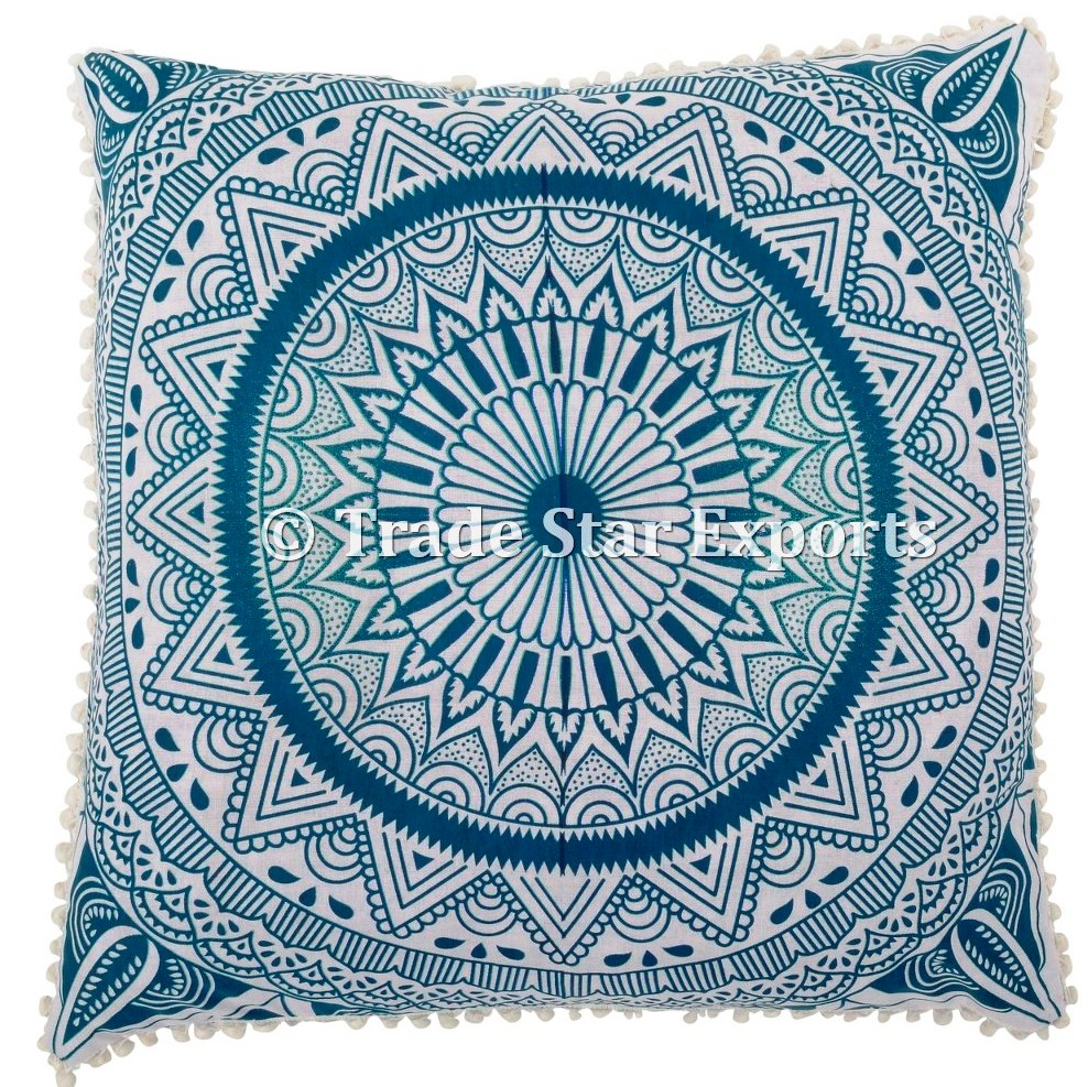 Indian mandala tapestry fabric 26x26 pillow case cover floor meditation cushion covers