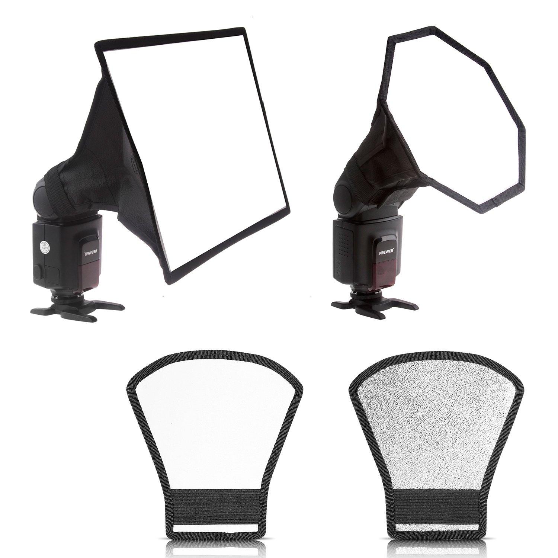 "Neewer 8"" x 12""/20 x 30cm Square Softbox,8"" x 8""/20x20cm Octagon Softbox and Two-sides Silver/White Reflector for Canon 430EX II,580EX II,600EX-RT,Nikon SB600 SB800 SB900,Neewer TT520,TT560"