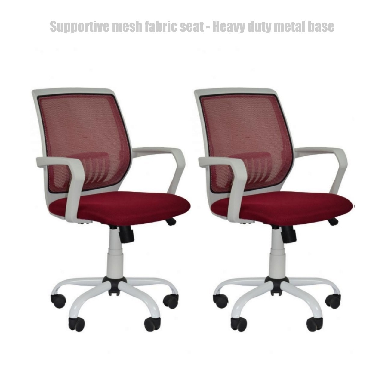 Modern Office Desk Task Chair Mid Back Design Breathable-Mesh-Fabric Comfortable Armrests Heavy Duty Metal Base Ergonomic Design Executive Chair - Set of 2 Burgundy #1492a