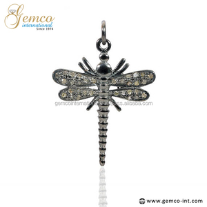 78bf6dc0382f6 925 Sterling Silver Pave Diamond Dragonfly Charms Pendant