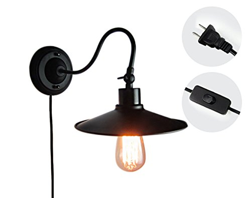 Kiven Plug In Industrial Edison Gooseneck Antique Style Wall Sconce Lamp Black Vintage Wall Light