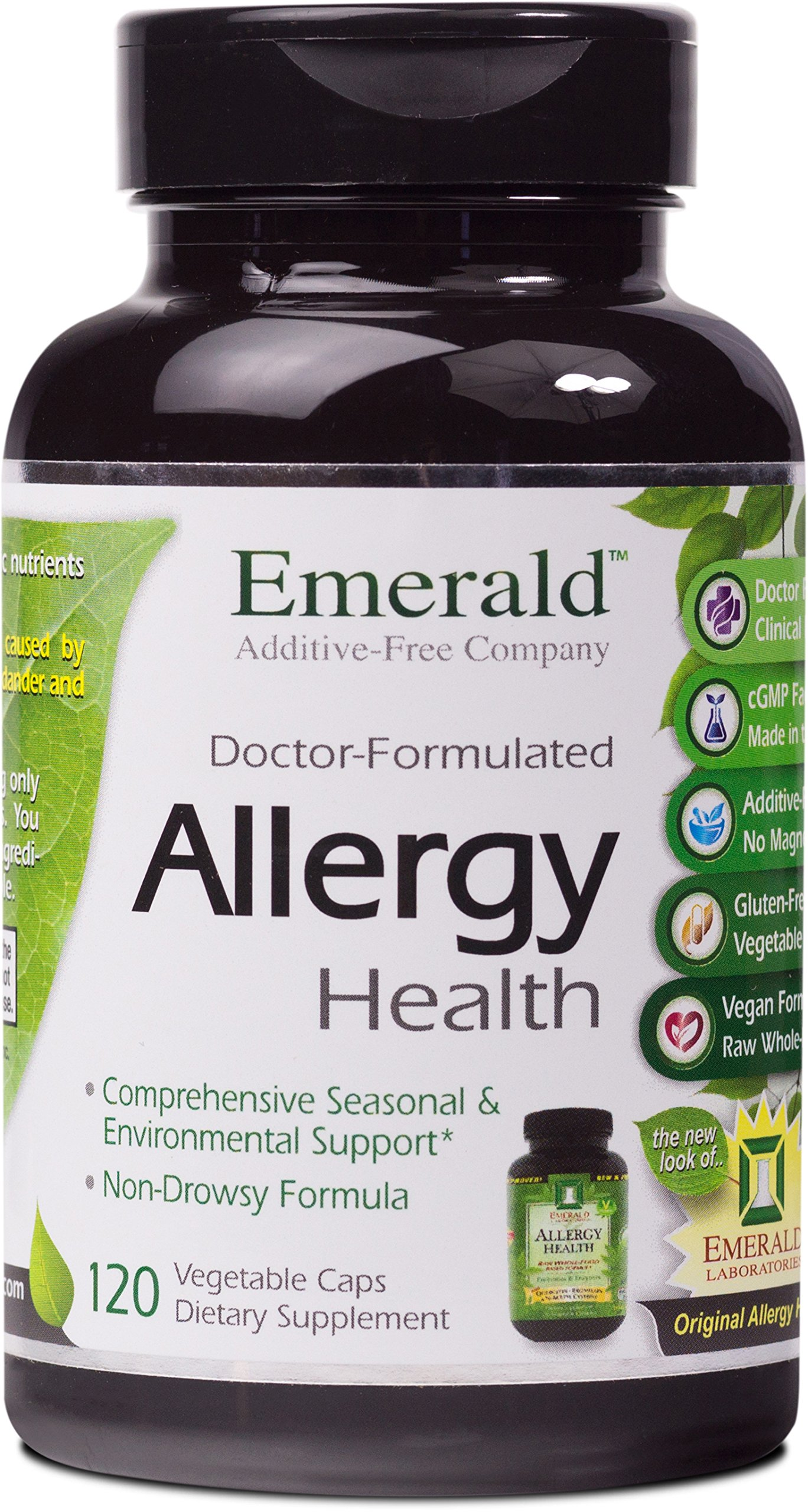 Allergy Health - with Quercetin, Bromelain & N-Acetyl Cysteine - Natural Antihistamine & Anti Inflammatory, Relief for Cough, Runny Nose, Itchy Eyes - Emerald Laboratories - 120 Vegetable Capsules