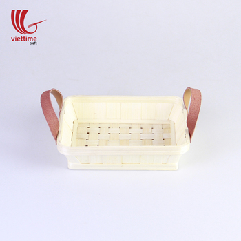 Shallow bamboo basket with leather handles, bamboo basket weaving