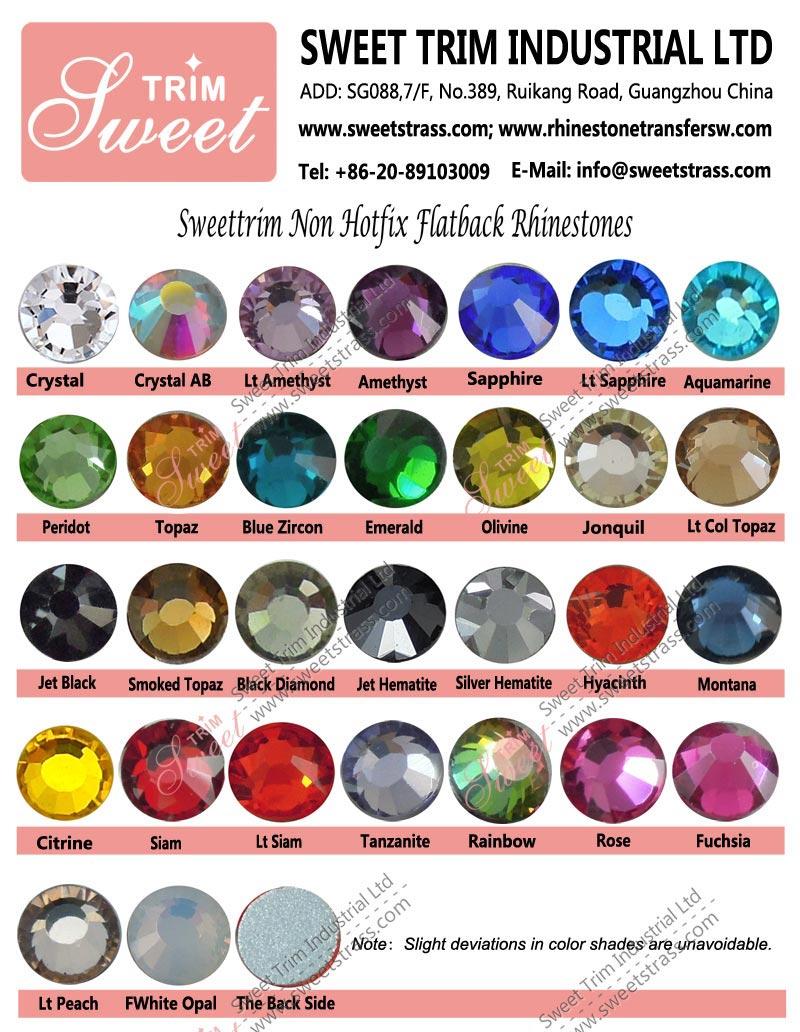 Factory wholesale china glass flat back non hotfix rhinestone for nail art jewelry artwork