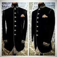 men fashion regular velvet over coat blazer with hand embroidery designs customize your brand with us
