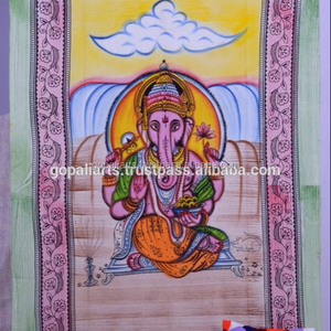Indian Lord Ganesha Twin Cotton Handmade Wall Hanging, Tapestry, Bedspread, Bed sheet Ethnic Hippy Bohemian Bedcover Bedding Art