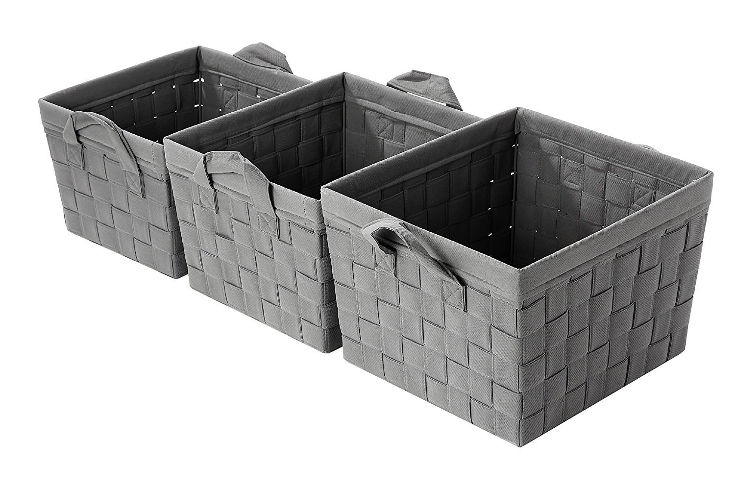 Get Quotations · Juvale Storage Basket   3 Piece Nesting Baskets, Grey  Woven Storage Cube Containers