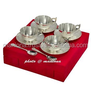 German Silver Gift Indian Designer Tea Set Diwali Giftiindian