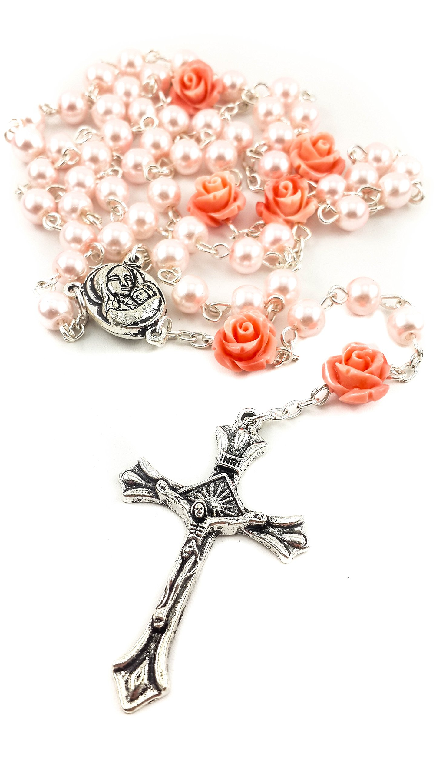 530c93412 Get Quotations · Catholic Pink Pearl Beads Rosary Necklace 6pcs Our Rose  Holy Soil Medal & Cross